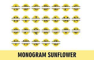 conjunto de alfabeto monograma girassol vetor