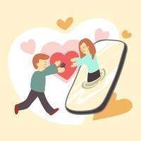 Couple lover closing together by smartphone vector