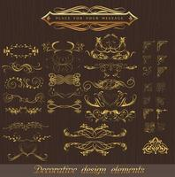 Classical pattern corner decorative element set  vector