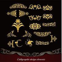 conjunto de diseño decorativo de oro vector