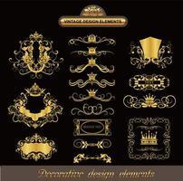 conjunto de elementos ornamentados vintage retrô