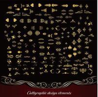 coleção de floreios ornamentados dourados