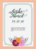 Wedding Invitation card template with amarillys flower vector