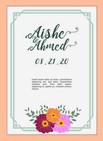 bruiloft uitnodiging kaartsjabloon met amarillys bloem