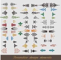 colección de florituras coloridas y elementos caligráficos vector