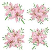 Watercolor pink lily flower bouquet collection  vector
