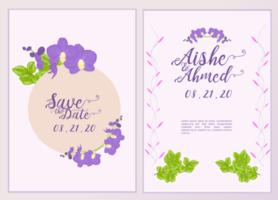 Purple Flower Wedding Invitation Card Template  vector