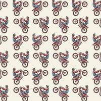 Seamless pattern with skeleton riding motorcycle vector
