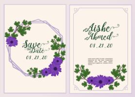 bruiloft uitnodiging kaartsjabloon met mooie bloemen en bladeren