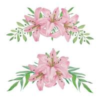 conjunto de arreglos florales curvados lirio rosa acuarela pintada a mano vector