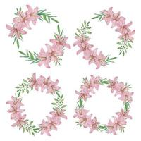 Watercolor pink lily flower wreath set vector