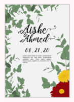 Simple wedding invitation with leaves and flowers