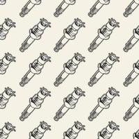 Seamless pattern with spark plug vector