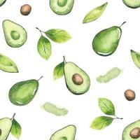 Seamless pattern of avocados and leaves vector