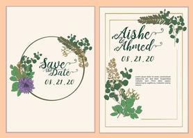 elegante en mooie bruiloft met groene bladeren set
