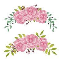 conjunto de arreglos florales de peonía pintada a mano en acuarela vector