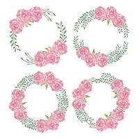 Watercolor peony flower wreath circle frame set vector