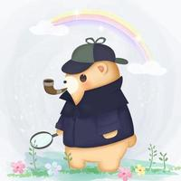 Detective bear outside vector