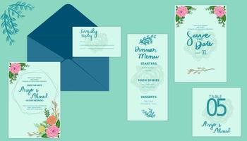 Elegant and beautiful floral blue green wedding set vector
