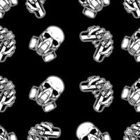 Graffiti Skull with Gas Mask Seamless Pattern