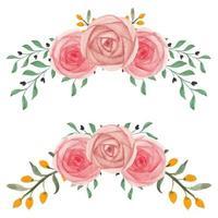 conjunto de arreglo floral curvo rosa pintado a mano de acuarela vector