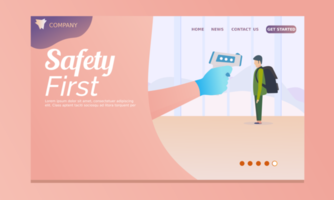 Safety first landing page  vector