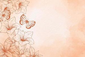 Orangenpulver Pastell mit Blumen