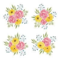 Watercolor pink yellow peony flower arrangement collection
