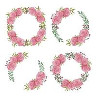 Pink rose watercolor flower circle frame set vector