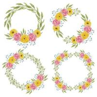 Watercolor peony flower wreath decoration set in pink yellow color