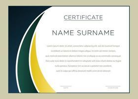 certificado de canto curvo gradiente verde e amarelo horizontal vetor