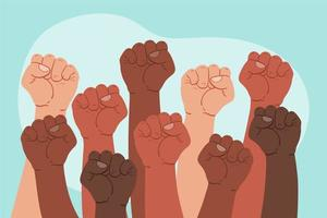 Group of people holding their fists up vector