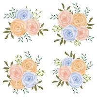 Watercolor pastel pink blue rose flower bouquet set