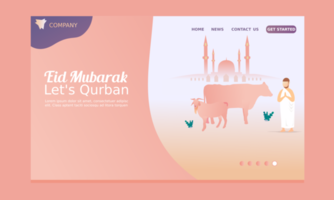 Happy Eid Mubarak Landing Page with Mosque  vector