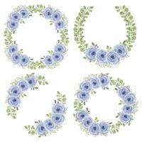 Watercolor purple rose flower circle wreath collection vector