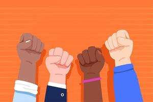 Multiracial raised fists  vector