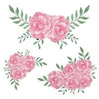 conjunto de arreglos florales de peonía rosa pintada a mano en acuarela vector