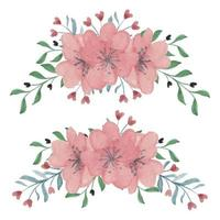 Hand painted cherry blossom flower arrangement set vector