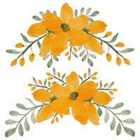 aquarela pintada à mão pétala amarela flor curva buquê conjunto