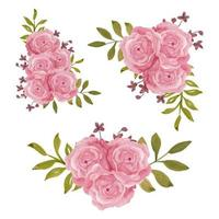 Pink rose flower decoration vintage watercolor style collection