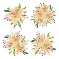 Vintage watercolor beautiful lily flower arrangement set