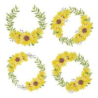 Watercolor hand painted sunflower circle wreath set vector