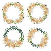 Watercolor lily flower circle wreath set  vector