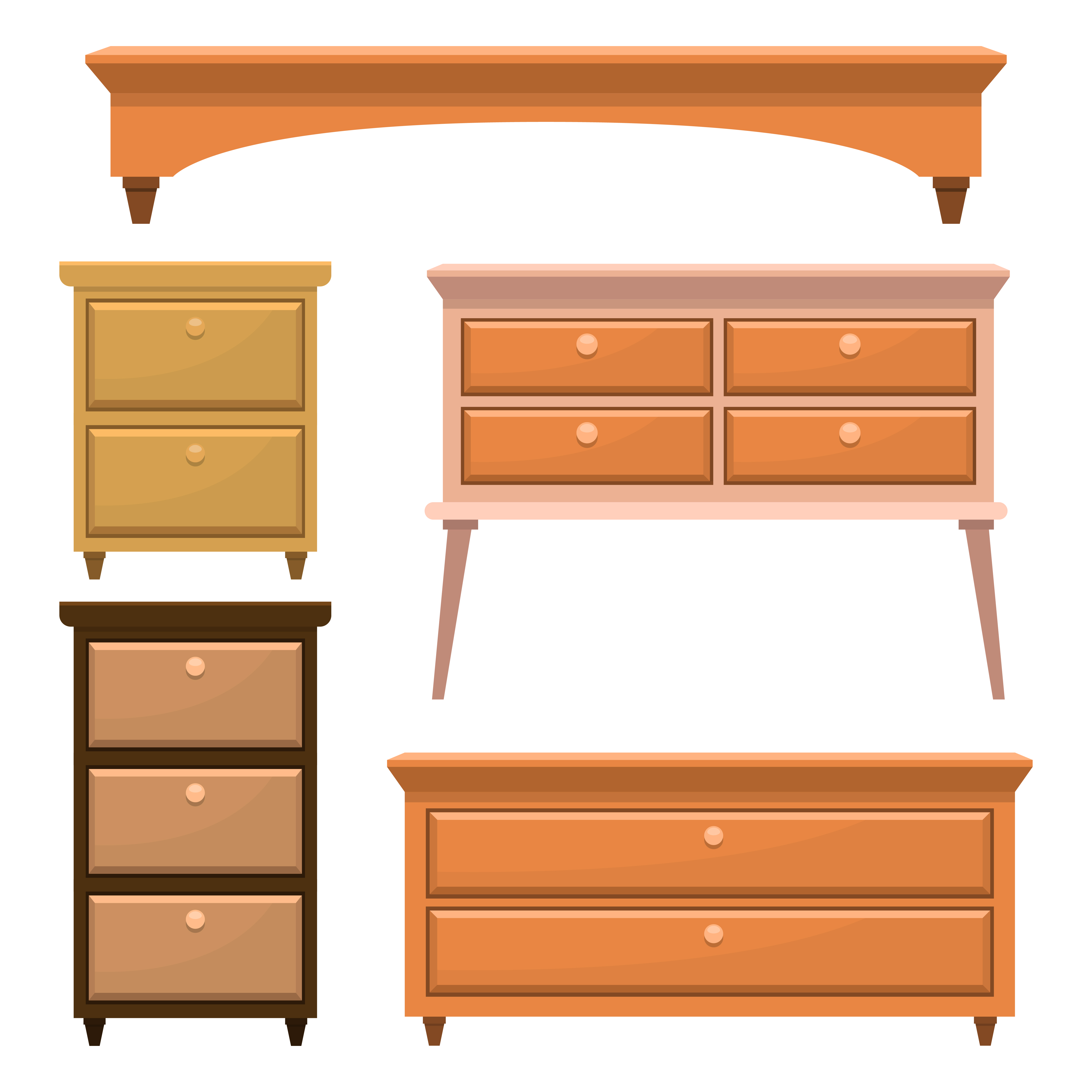Retro wooden bedroom furniture - Download Free Vectors, Clipart
