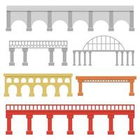conjunto de puentes aislado sobre fondo blanco vector
