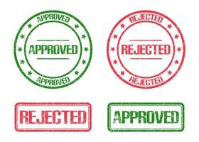 Approved and rejected stamp mark isolated on white background vector