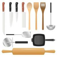 conjunto de utensilios de cocina aislado sobre fondo blanco