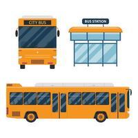 City bus set isolated on white background