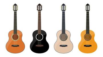 Stylish classical guitar set isolated on white background vector