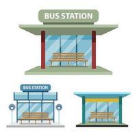 Estación de autobuses conjunto aislado sobre fondo blanco.